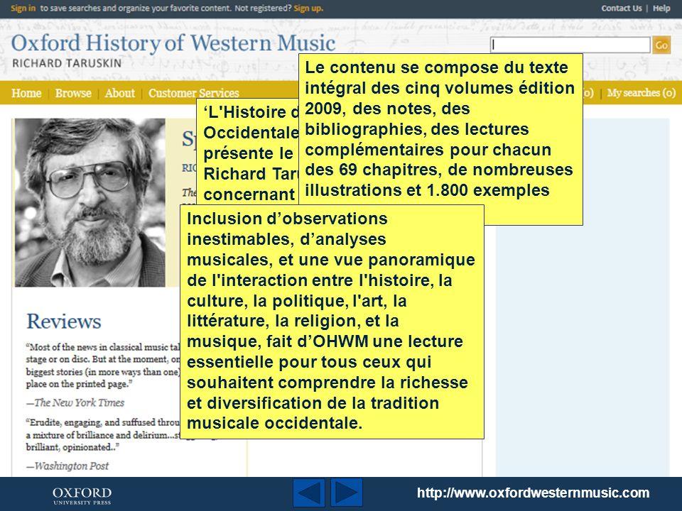 Cette présentation est un bref descriptif de L Histoire de la Musique Occidentale Oxford (Oxford History of Western Music – OHWM) présenté par Richard Taruskin.
