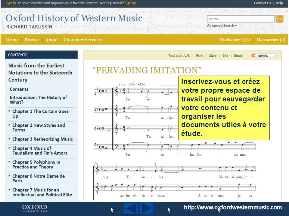 http://www.oxfordwesternmusic.com Utilisez l onglet Browse dans la barre de navigation en haut de la page d accueil pour parcourir la totalité du contenu du portail.
