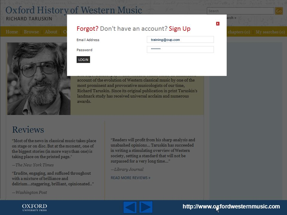 http://www.oxfordwesternmusic.com Le panneau de navigation extensible vous permet de vous déplacer librement parmi les chapitres et leurs segments.