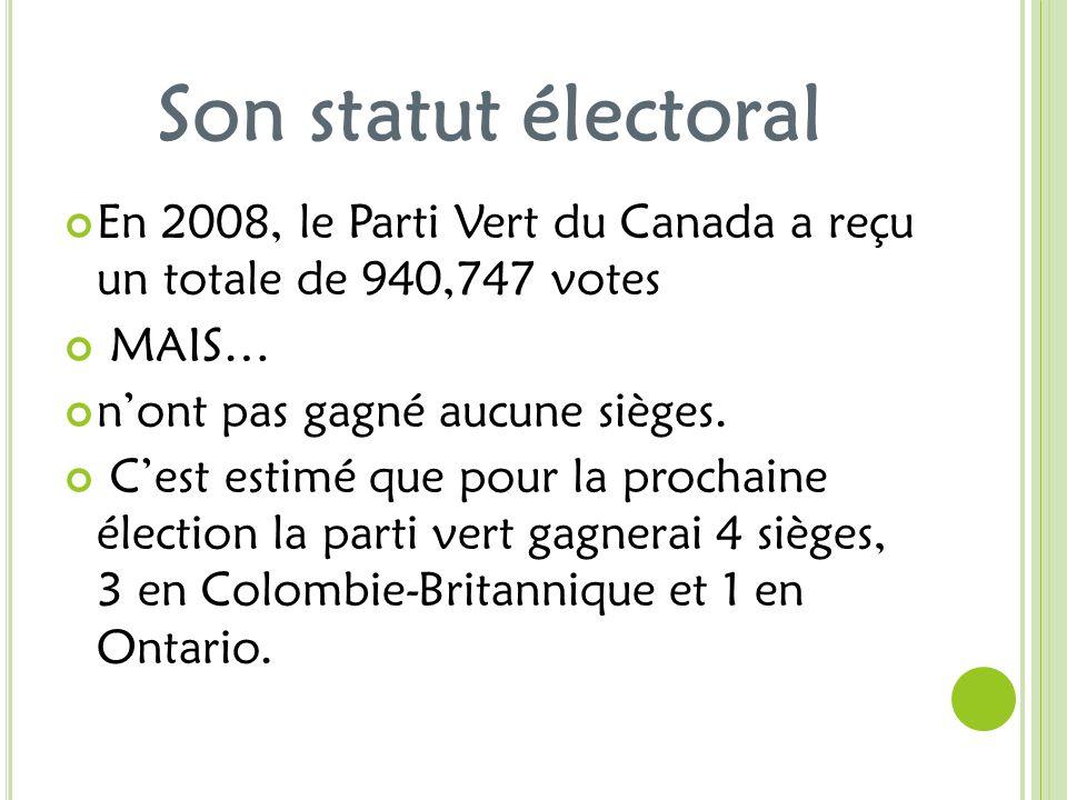 Son statut électoral En 2008, le Parti Vert du Canada a reçu un totale de 940,747 votes MAIS… nont pas gagné aucune sièges. Cest estimé que pour la pr