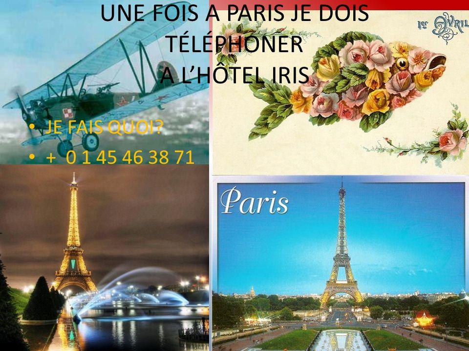 UNE FOIS A PARIS JE DOIS TÉLÉPHONER A LHÔTEL IRIS JE FAIS QUOI + 0 1 45 46 38 71