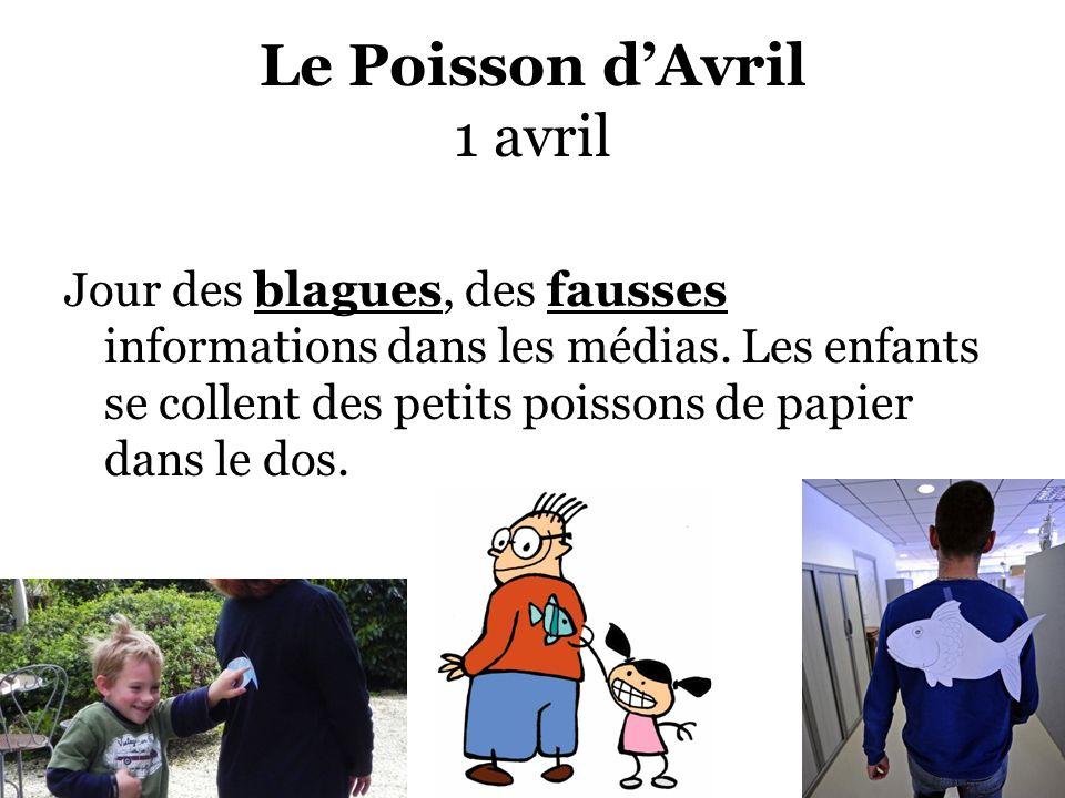 Le Poisson dAvril 1 avril Jour des blagues, des fausses informations dans les médias. Les enfants se collent des petits poissons de papier dans le dos