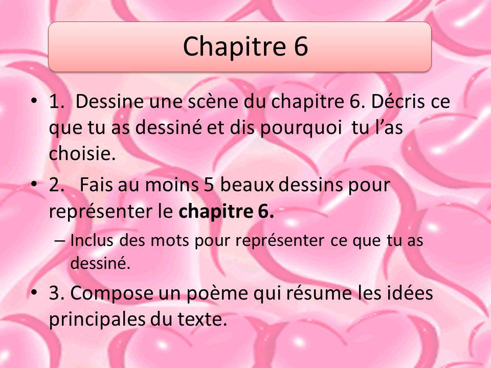 1.Dessine une scène du chapitre 6. Décris ce que tu as dessiné et dis pourquoi tu las choisie.