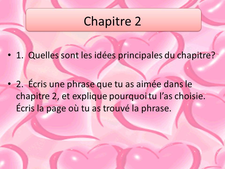1.Quelles sont les idées principales du chapitre.