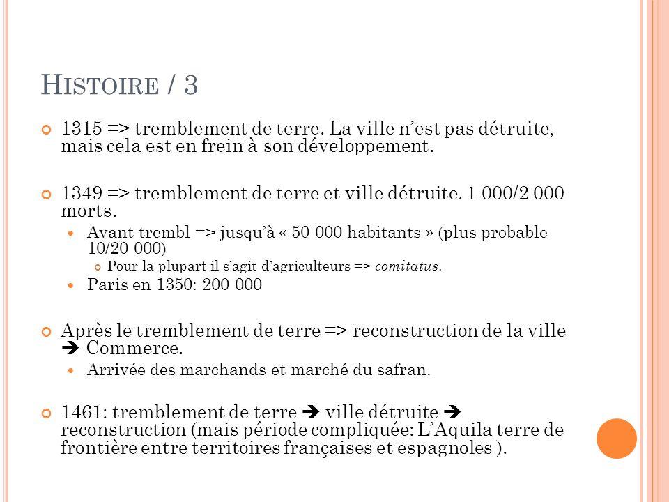H ISTOIRE /4 XVI siècle: Domination espagnole perte du comitatus (donné au généraux de lArmée espagnole).