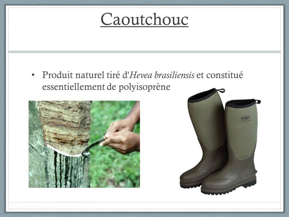 Caoutchouc Produit naturel tiré d' Hevea brasiliensis et constitué essentiellement de polyisoprène