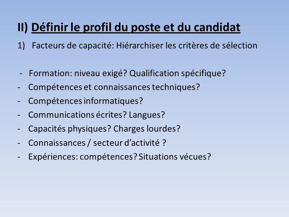 II) Définir le profil du poste et du candidat 1)Facteurs de capacité: Hiérarchiser les critères de sélection - Formation: niveau exigé? Qualification