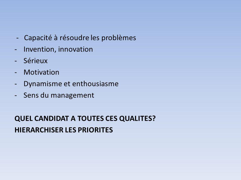 - Capacité à résoudre les problèmes -Invention, innovation -Sérieux -Motivation -Dynamisme et enthousiasme -Sens du management QUEL CANDIDAT A TOUTES