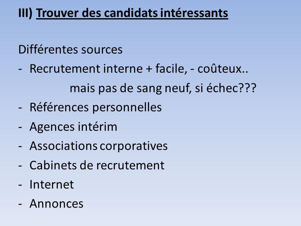 III) Trouver des candidats intéressants Différentes sources -Recrutement interne + facile, - coûteux.. mais pas de sang neuf, si échec??? -Références