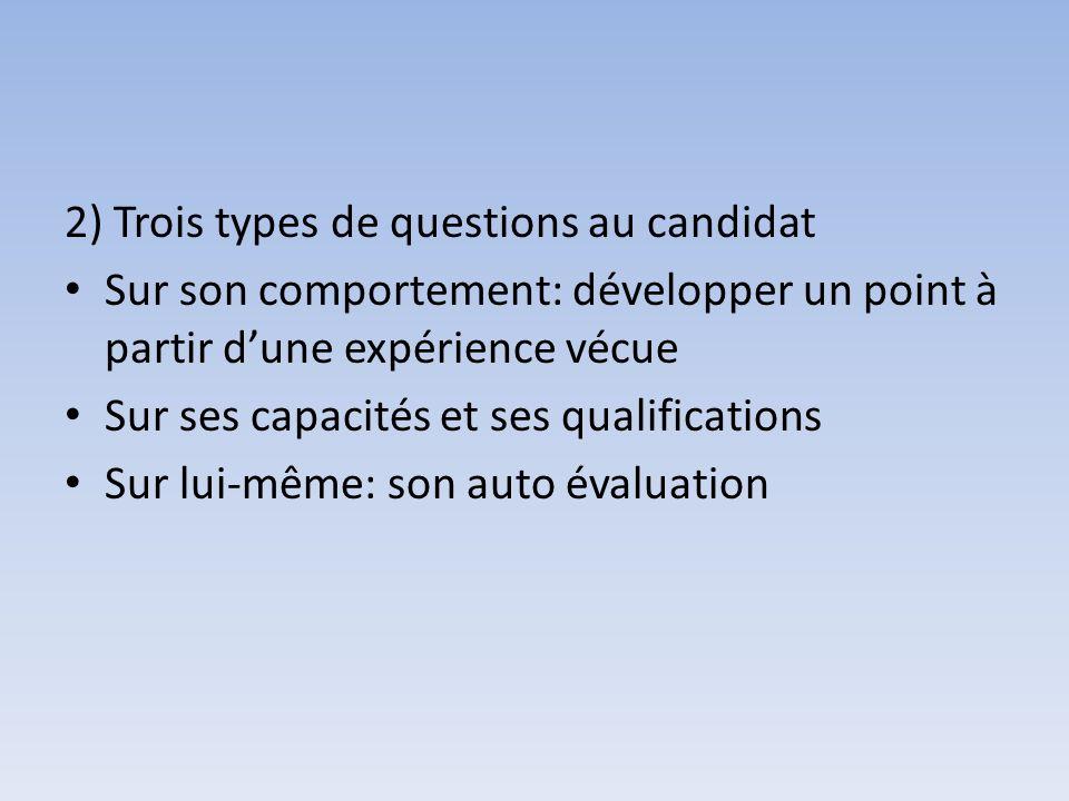 2) Trois types de questions au candidat Sur son comportement: développer un point à partir dune expérience vécue Sur ses capacités et ses qualificatio
