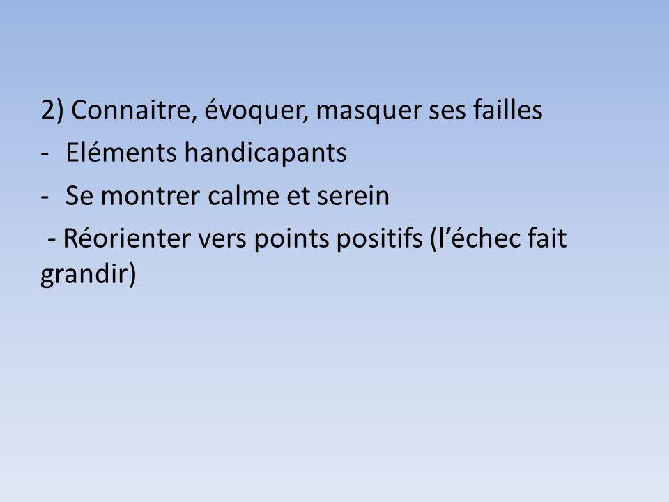 2) Connaitre, évoquer, masquer ses failles -Eléments handicapants -Se montrer calme et serein - Réorienter vers points positifs (léchec fait grandir)