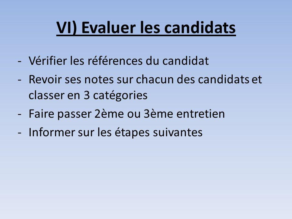 VI) Evaluer les candidats -Vérifier les références du candidat -Revoir ses notes sur chacun des candidats et classer en 3 catégories -Faire passer 2èm