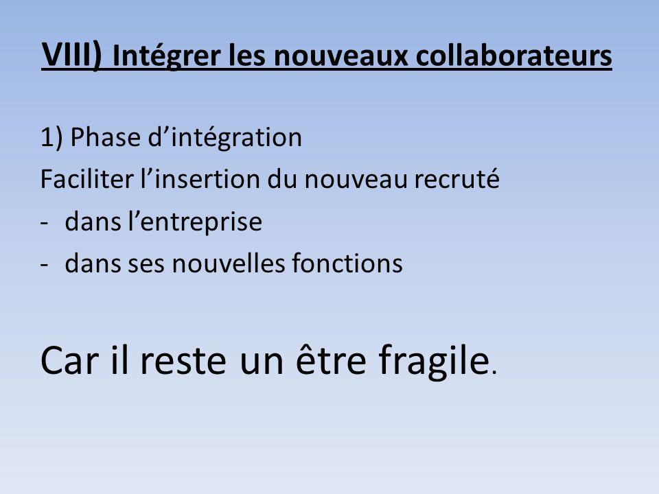 VIII) Intégrer les nouveaux collaborateurs 1) Phase dintégration Faciliter linsertion du nouveau recruté -dans lentreprise -dans ses nouvelles fonctio