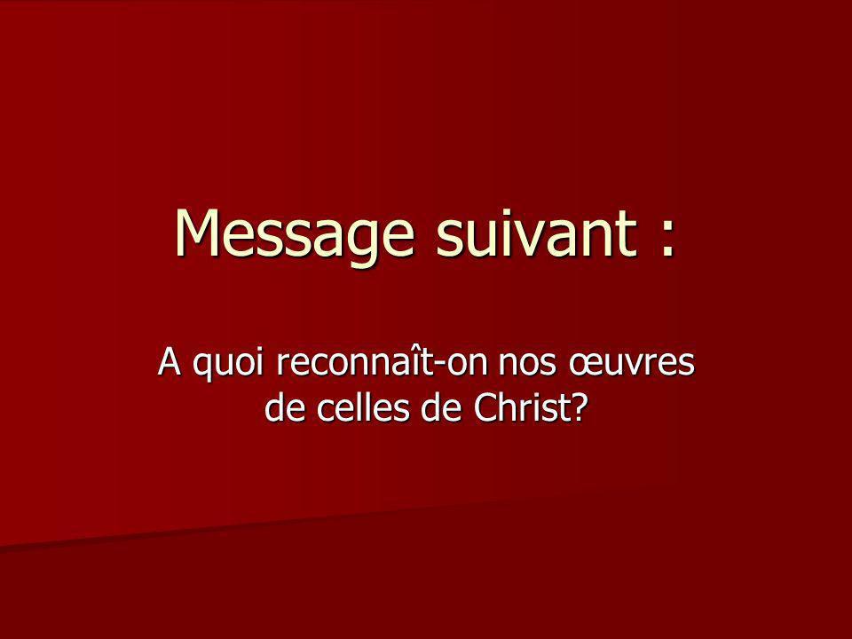 Message suivant : A quoi reconnaît-on nos œuvres de celles de Christ?