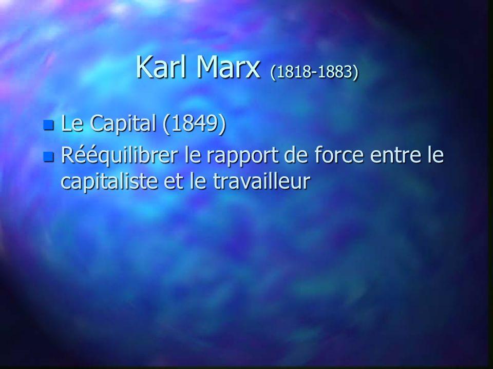 Karl Marx (1818-1883) n Le Capital (1849) n Rééquilibrer le rapport de force entre le capitaliste et le travailleur