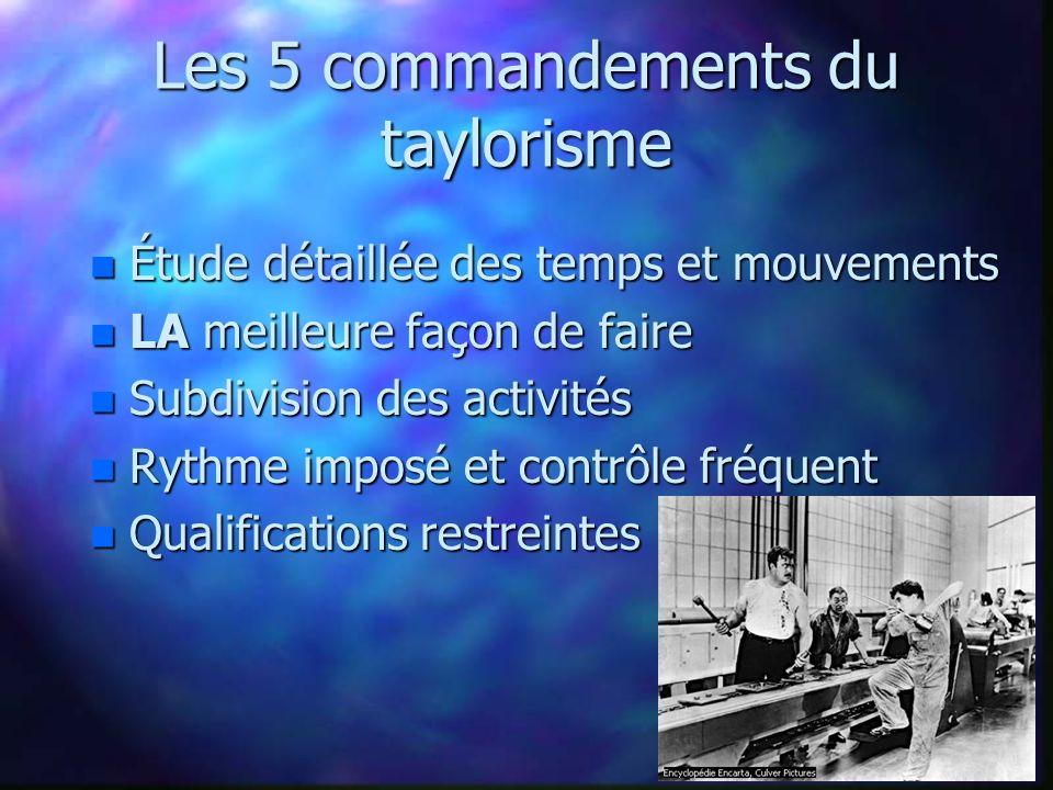 Les 5 commandements du taylorisme n Étude détaillée des temps et mouvements n LA meilleure façon de faire n Subdivision des activités n Rythme imposé