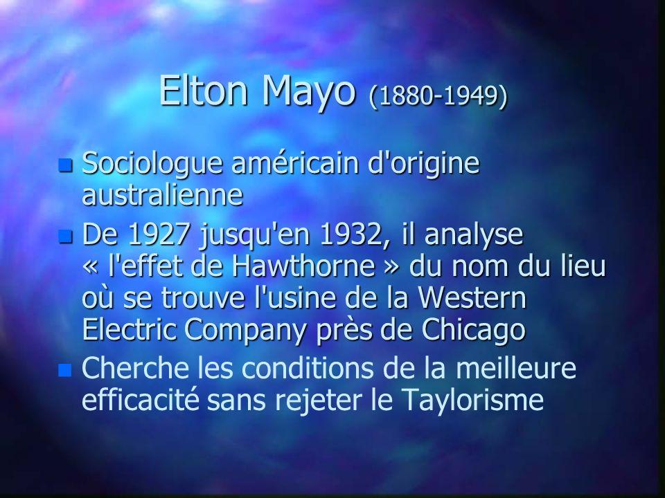 Elton Mayo (1880-1949) n Sociologue américain d'origine australienne n De 1927 jusqu'en 1932, il analyse « l'effet de Hawthorne » du nom du lieu où se