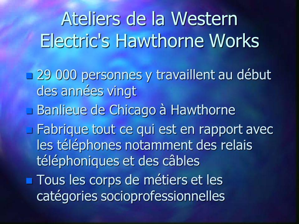 Ateliers de la Western Electric's Hawthorne Works n 29 000 personnes y travaillent au début des années vingt n Banlieue de Chicago à Hawthorne n Fabri