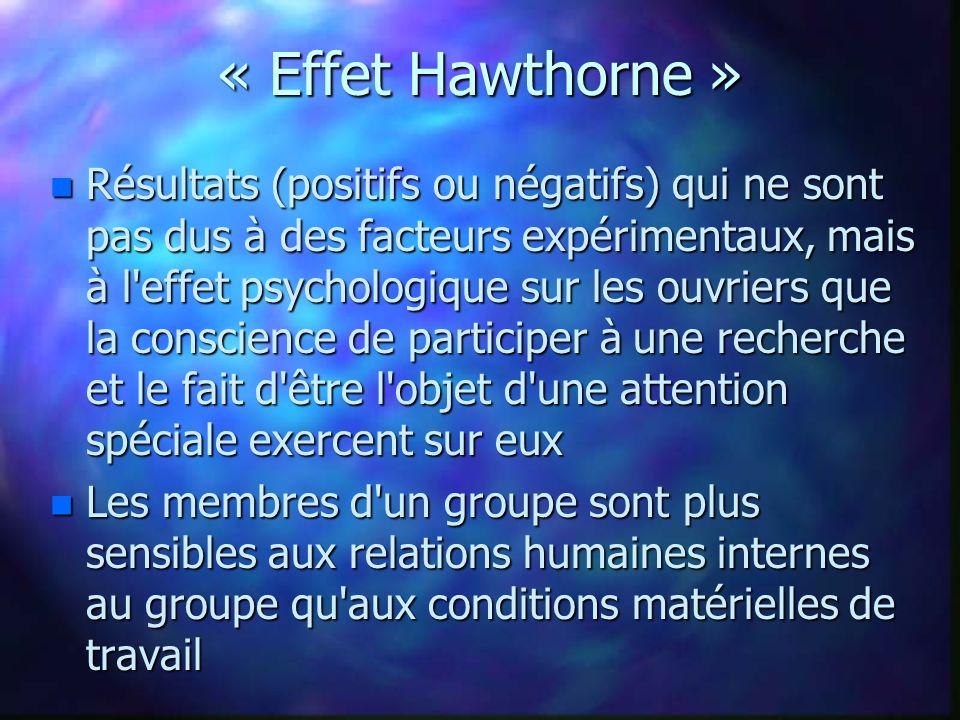« Effet Hawthorne » n Résultats (positifs ou négatifs) qui ne sont pas dus à des facteurs expérimentaux, mais à l'effet psychologique sur les ouvriers