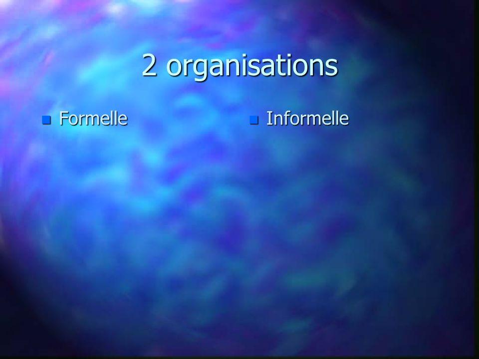 2 organisations n Formelle n Informelle