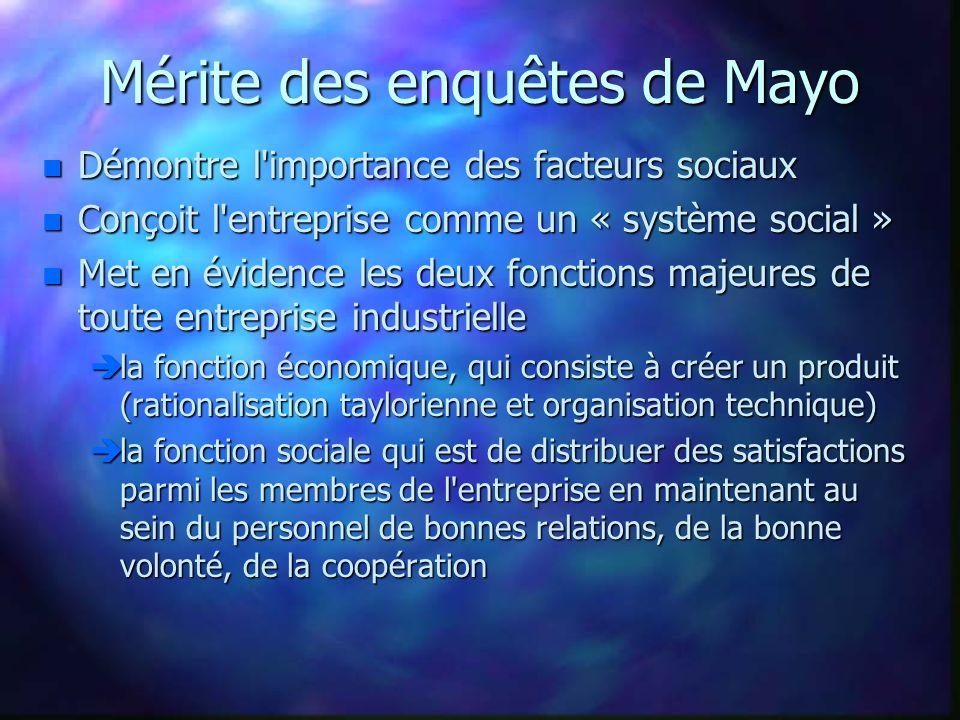 Mérite des enquêtes de Mayo n Démontre l'importance des facteurs sociaux n Conçoit l'entreprise comme un « système social » n Met en évidence les deux