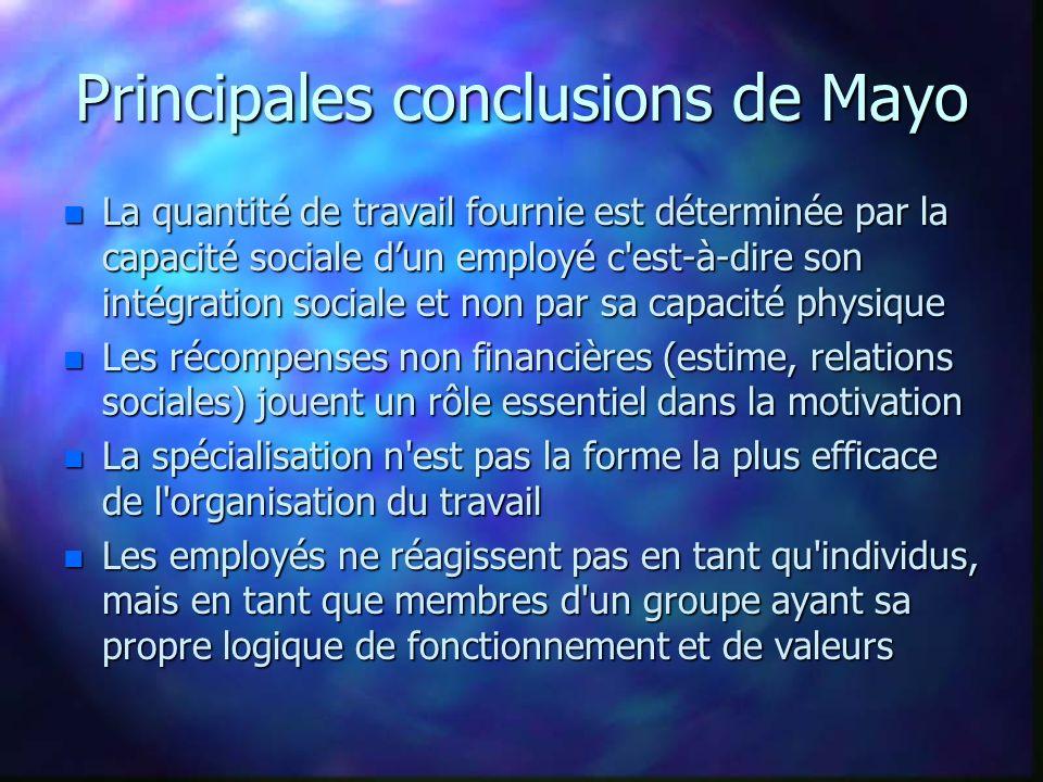 Principales conclusions de Mayo n La quantité de travail fournie est déterminée par la capacité sociale dun employé c'est-à-dire son intégration socia
