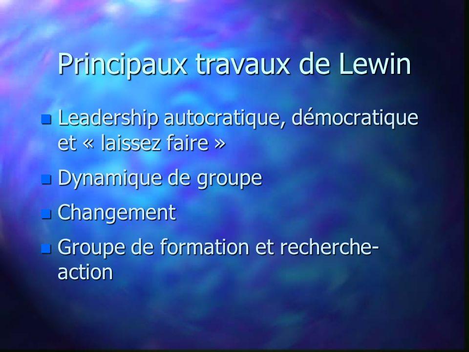 Principaux travaux de Lewin n Leadership autocratique, démocratique et « laissez faire » n Dynamique de groupe n Changement n Groupe de formation et r