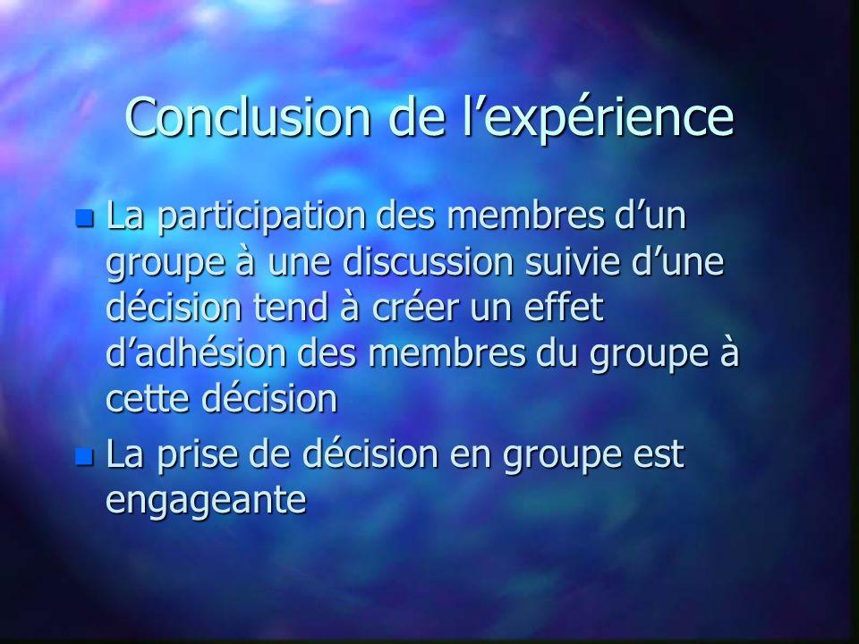 Conclusion de lexpérience n La participation des membres dun groupe à une discussion suivie dune décision tend à créer un effet dadhésion des membres