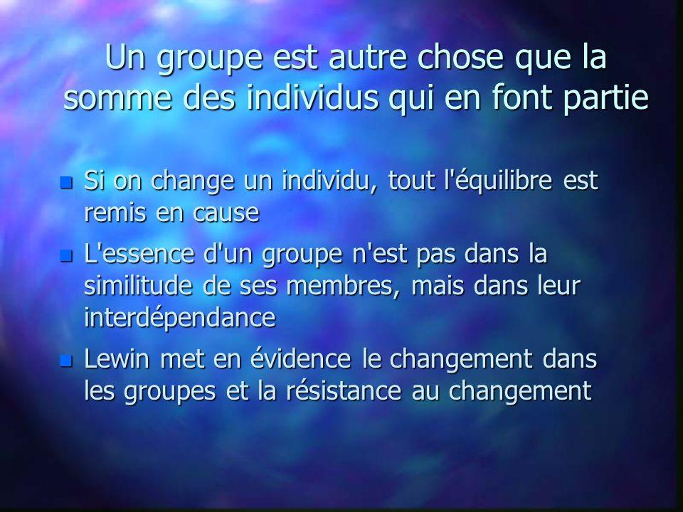 Un groupe est autre chose que la somme des individus qui en font partie n Si on change un individu, tout l'équilibre est remis en cause n L'essence d'