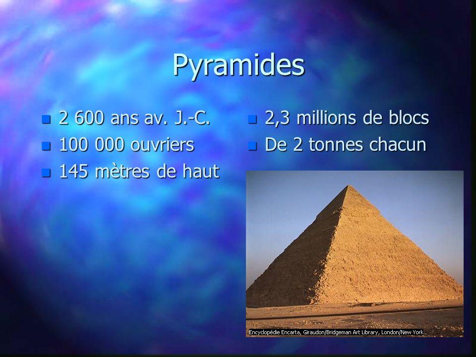 Pyramides n 2 600 ans av. J.-C. n 100 000 ouvriers n 145 mètres de haut n 2,3 millions de blocs n De 2 tonnes chacun