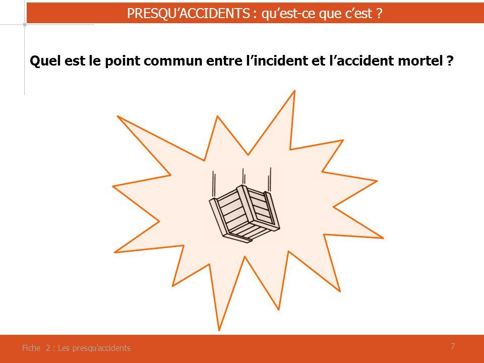 88 Fiche 2 : Les presquaccidents PRESQUACCIDENTS : quel intérêt pour la prévention .