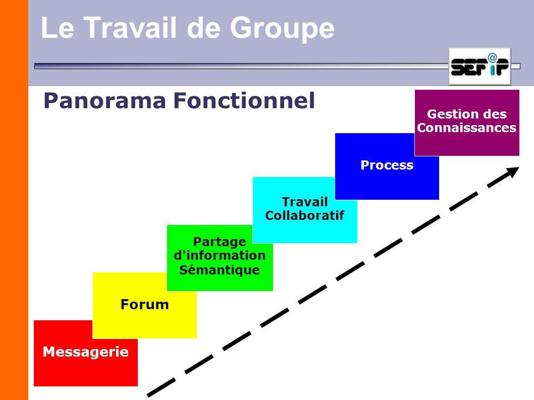 Le Travail de Groupe MessagerieForum Partage d'information Sémantique Travail Collaboratif Process Gestion des Connaissances Panorama Fonctionnel