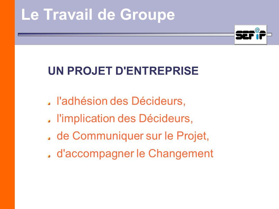 Le Travail de Groupe UN PROJET D'ENTREPRISE l'adhésion des Décideurs, l'implication des Décideurs, de Communiquer sur le Projet, d'accompagner le Chan