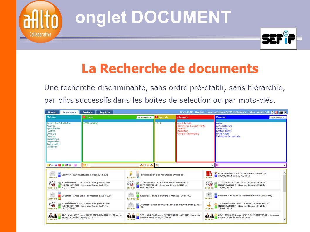 onglet DOCUMENT La Recherche de documents Une recherche discriminante, sans ordre pré-établi, sans hiérarchie, par clics successifs dans les boîtes de