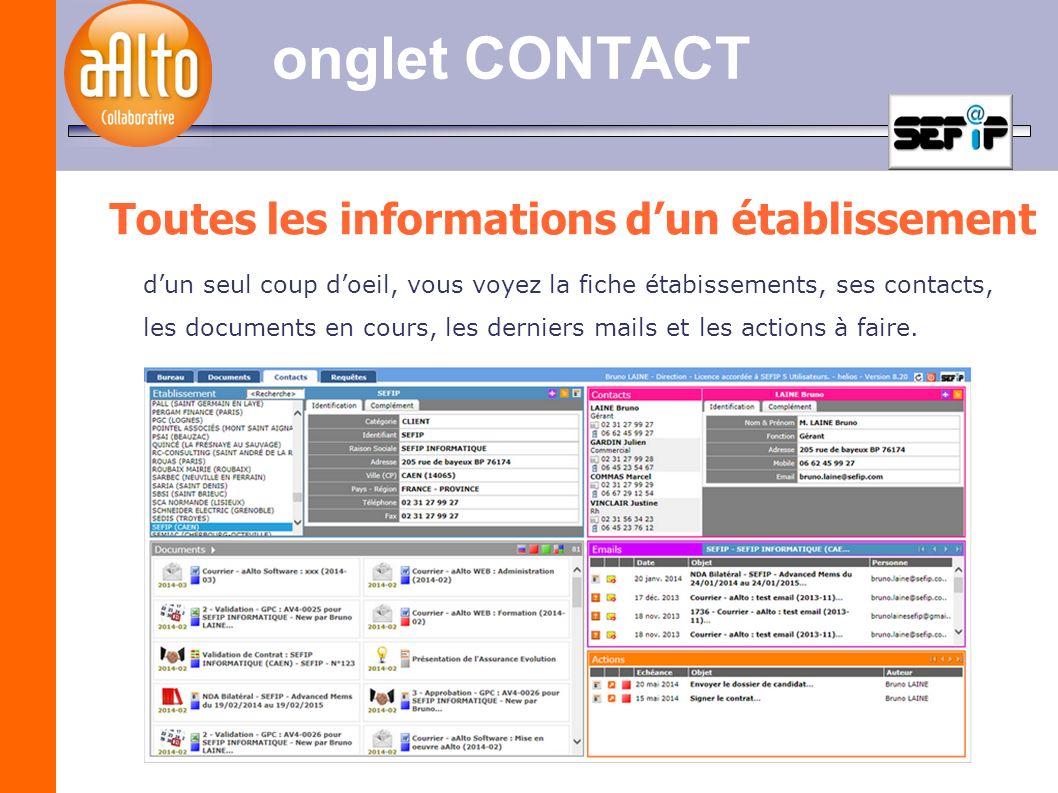 onglet CONTACT Toutes les informations dun établissement dun seul coup doeil, vous voyez la fiche étabissements, ses contacts, les documents en cours,