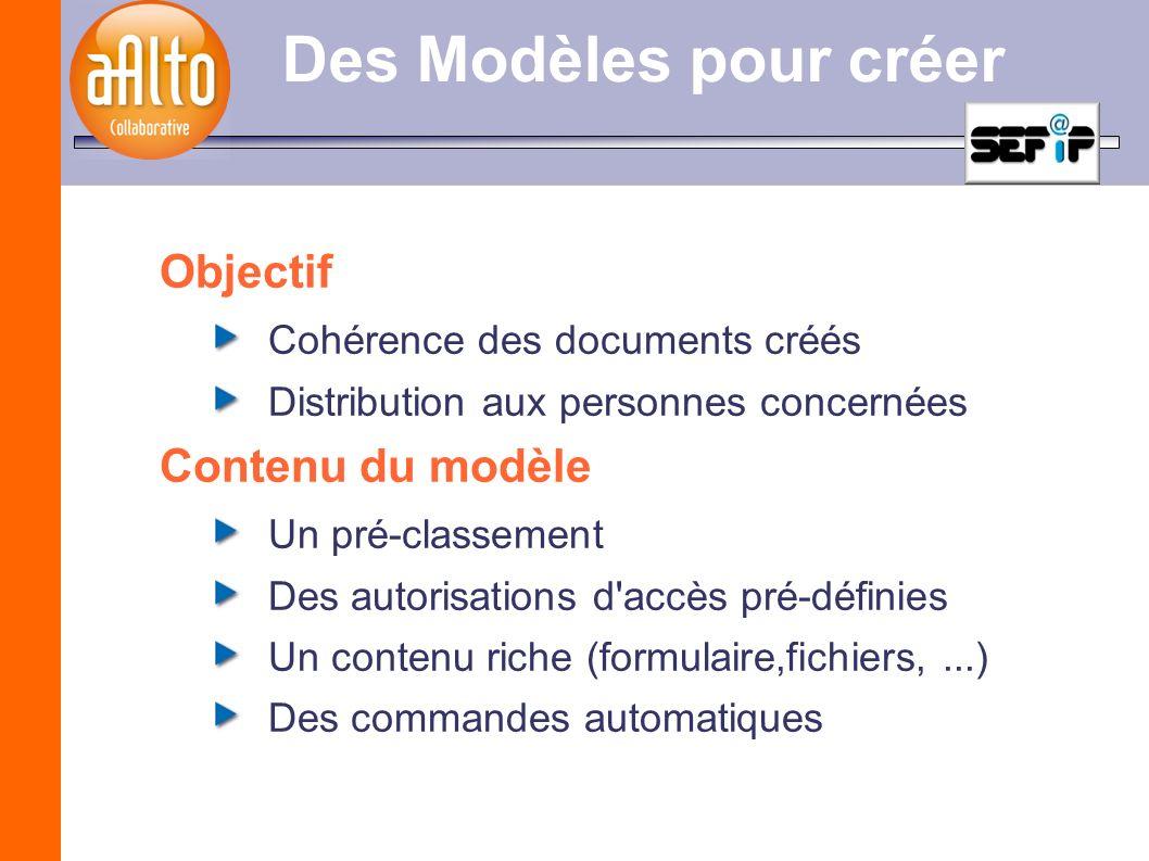 Des Modèles pour créer Objectif Cohérence des documents créés Distribution aux personnes concernées Contenu du modèle Un pré-classement Des autorisati