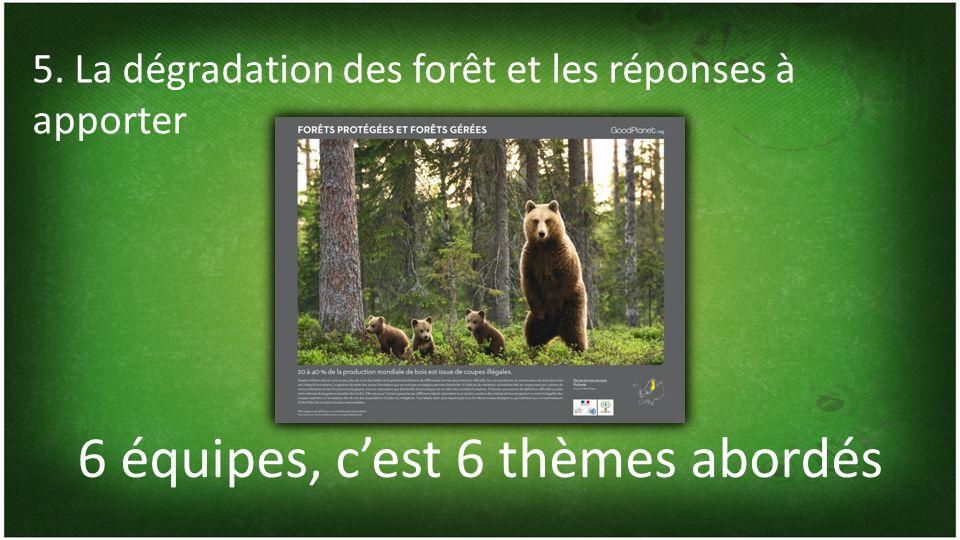 6 équipes, cest 6 thèmes abordés 5. La dégradation des forêt et les réponses à apporter