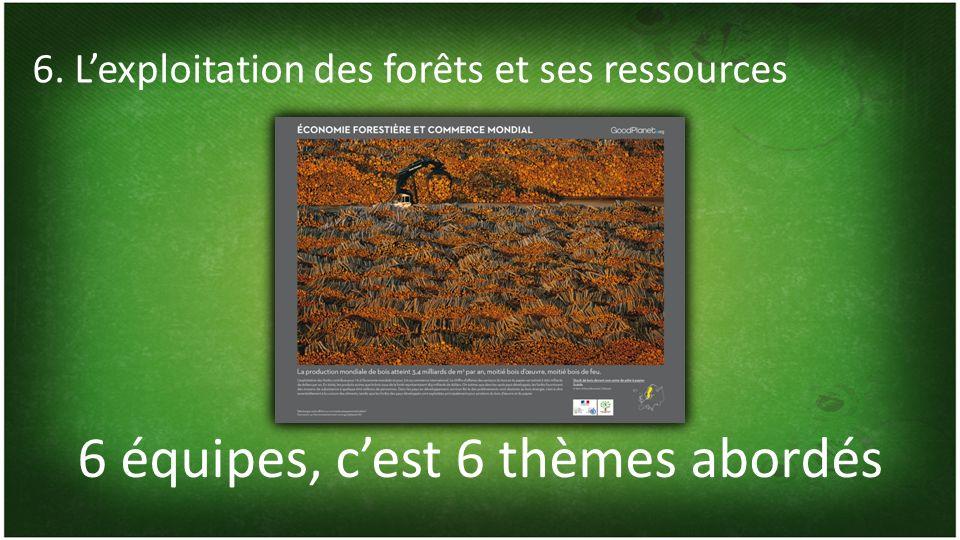 6 équipes, cest 6 thèmes abordés 6. Lexploitation des forêts et ses ressources