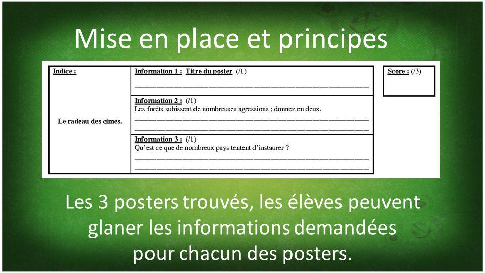 Mise en place et principes Les 3 posters trouvés, les élèves peuvent glaner les informations demandées pour chacun des posters.