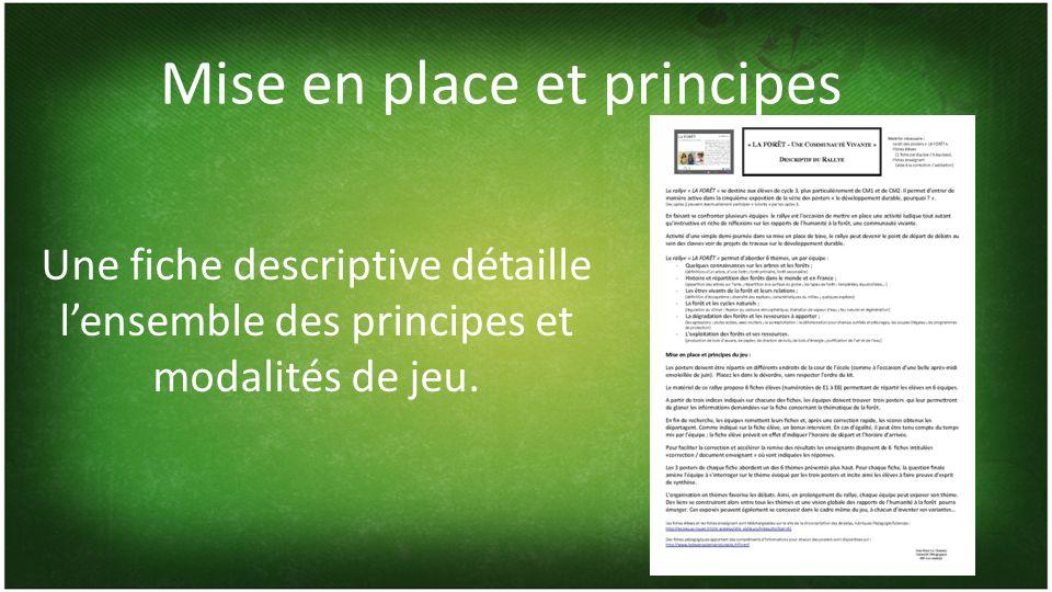 Mise en place et principes Une fiche descriptive détaille lensemble des principes et modalités de jeu.