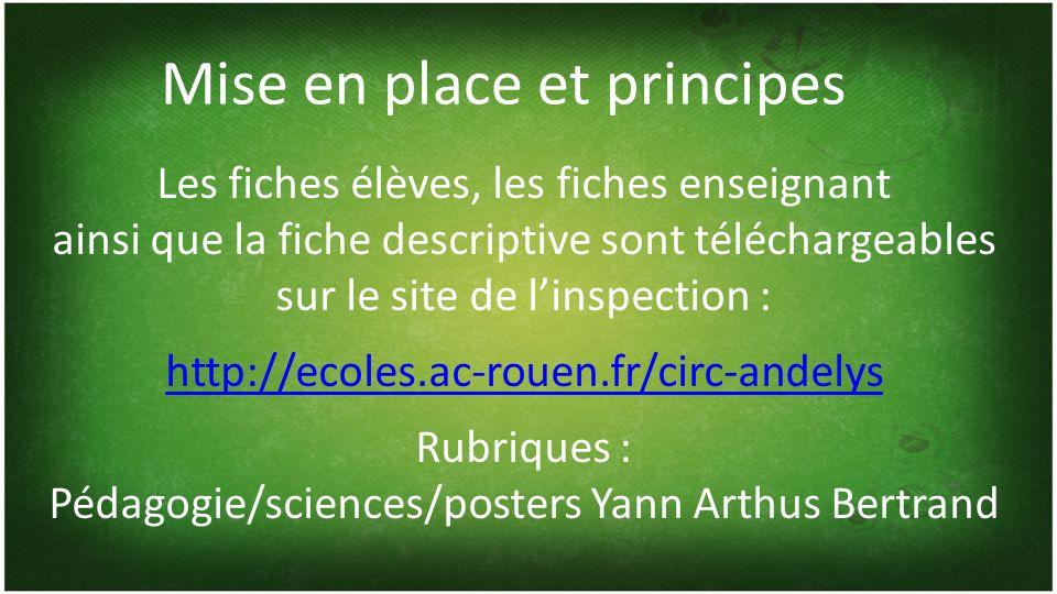 Mise en place et principes Les fiches élèves, les fiches enseignant ainsi que la fiche descriptive sont téléchargeables sur le site de linspection : http://ecoles.ac-rouen.fr/circ-andelys Rubriques : Pédagogie/sciences/posters Yann Arthus Bertrand