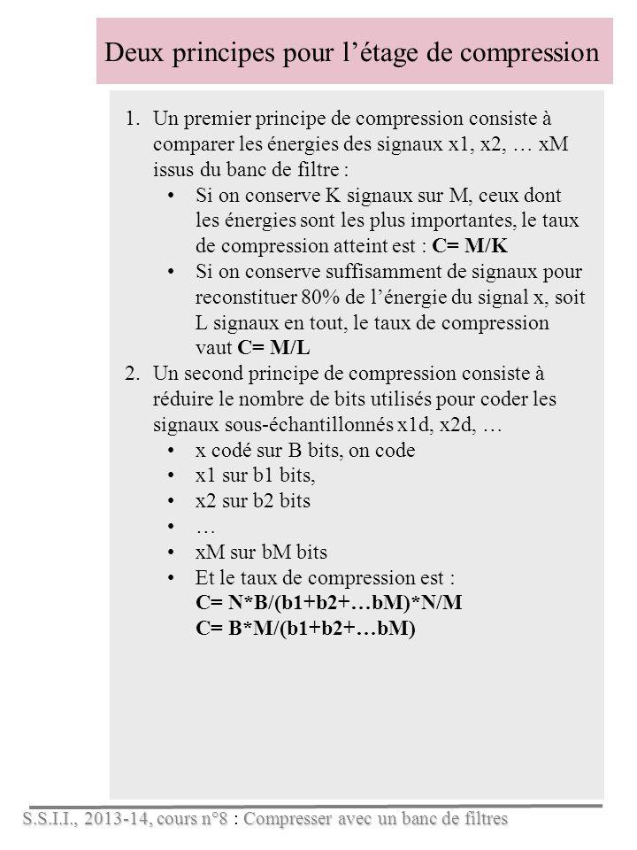 S.S.I.I., 2013-14, cours n°8Compresser avec un banc de filtres S.S.I.I., 2013-14, cours n°8 : Compresser avec un banc de filtres Deux principes pour létage de compression 1.Un premier principe de compression consiste à comparer les énergies des signaux x1, x2, … xM issus du banc de filtre : Si on conserve K signaux sur M, ceux dont les énergies sont les plus importantes, le taux de compression atteint est : C= M/K Si on conserve suffisamment de signaux pour reconstituer 80% de lénergie du signal x, soit L signaux en tout, le taux de compression vaut C= M/L 2.Un second principe de compression consiste à réduire le nombre de bits utilisés pour coder les signaux sous-échantillonnés x1d, x2d, … x codé sur B bits, on code x1 sur b1 bits, x2 sur b2 bits … xM sur bM bits Et le taux de compression est : C= N*B/(b1+b2+…bM)*N/M C= B*M/(b1+b2+…bM)