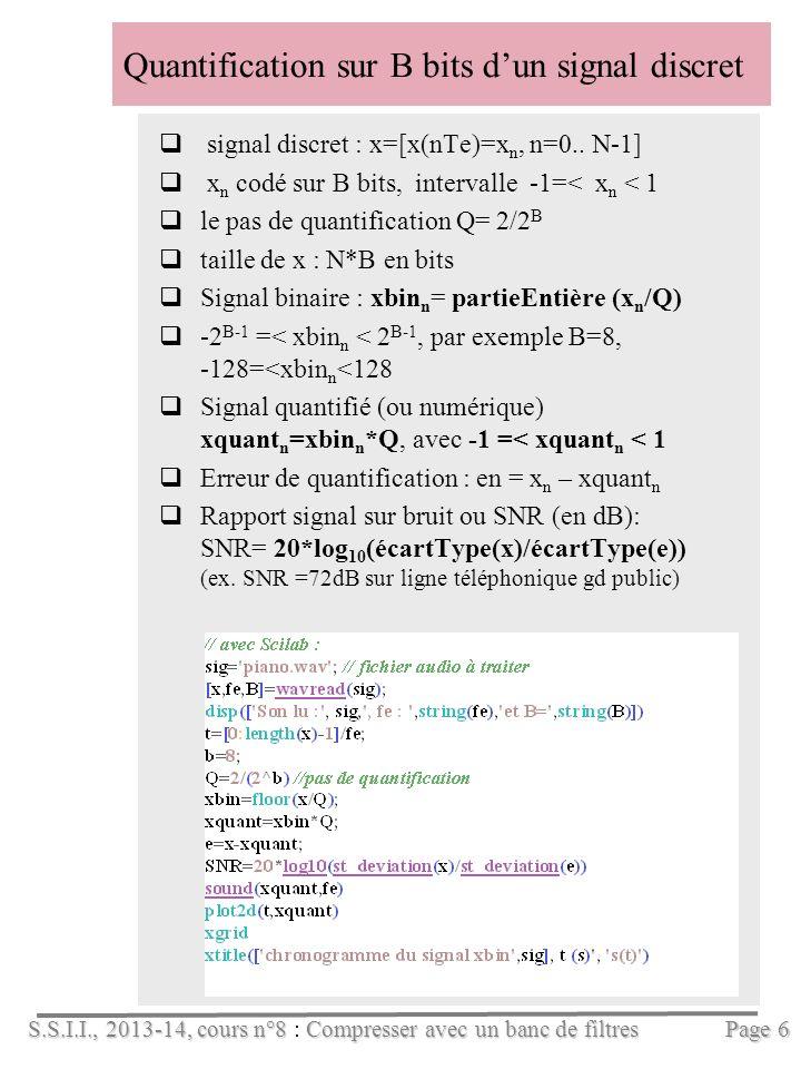S.S.I.I., 2013-14, cours n°8Compresser avec un banc de filtres S.S.I.I., 2013-14, cours n°8 : Compresser avec un banc de filtres Quantification sur B bits dun signal discret signal discret : x=[x(nTe)=x n, n=0..