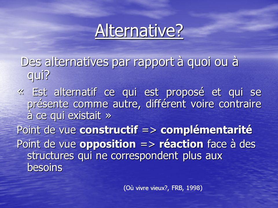 Alternative.Des alternatives par rapport à quoi ou à qui.