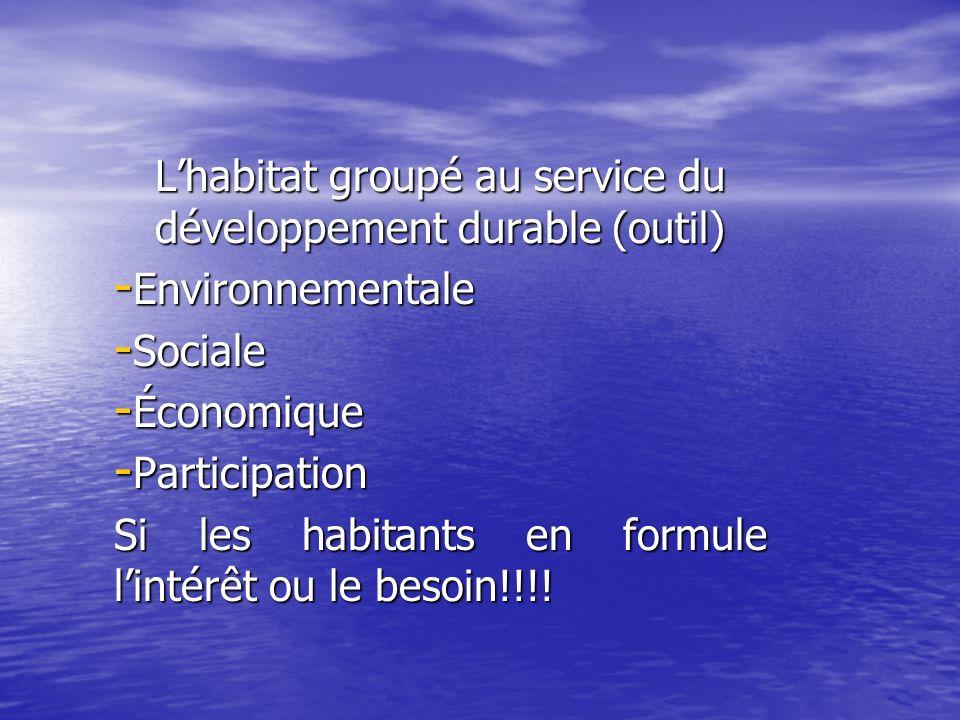 Lhabitat groupé au service du développement durable (outil) - Environnementale - Sociale - Économique - Participation Si les habitants en formule lintérêt ou le besoin!!!!