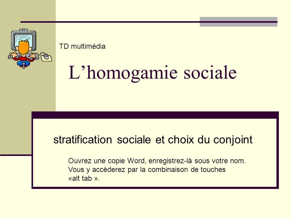 Lhomogamie sociale stratification sociale et choix du conjoint TD multimédia Ouvrez une copie Word, enregistrez-là sous votre nom. Vous y accèderez pa
