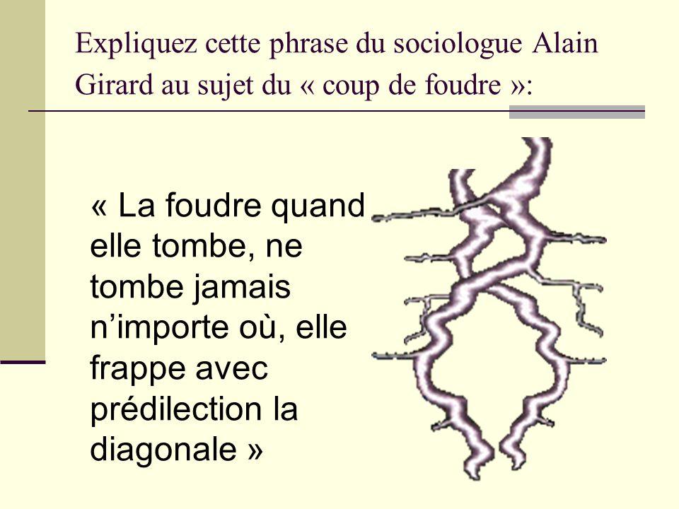 Expliquez cette phrase du sociologue Alain Girard au sujet du « coup de foudre »: « La foudre quand elle tombe, ne tombe jamais nimporte où, elle frap