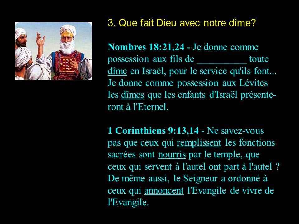 3. Que fait Dieu avec notre dîme? Nombres 18:21,24 - Je donne comme possession aux fils de __________ toute dîme en Israël, pour le service qu'ils fon