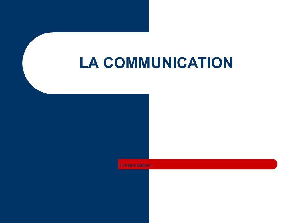 Floriane Barbier La communication Schéma de la communication La communication non verbale La communication verbale Le contexte de la communication Les objectifs de la communication Les comportements facilitateurs