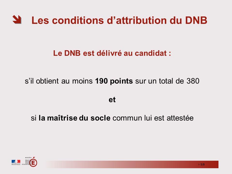 Les conditions dattribution du DNB Le DNB est délivré au candidat : sil obtient au moins 190 points sur un total de 380 et si la maîtrise du socle com